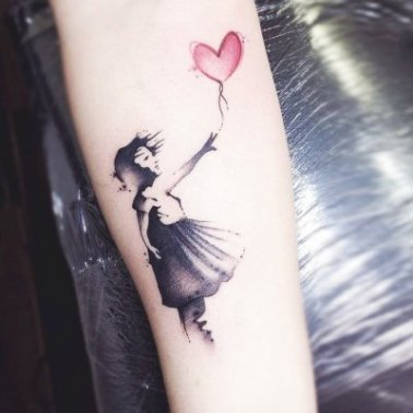 Abstract Forearm Girl Tattoo