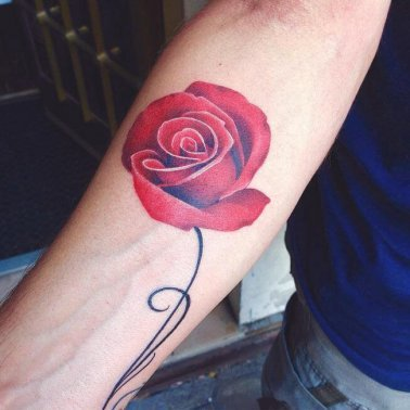 Red Rose Arm Tattoo