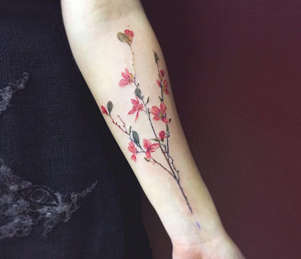 Floral Leave Forearm Tattoo