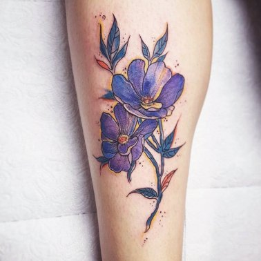 Purple Anemone Calf Tattoo