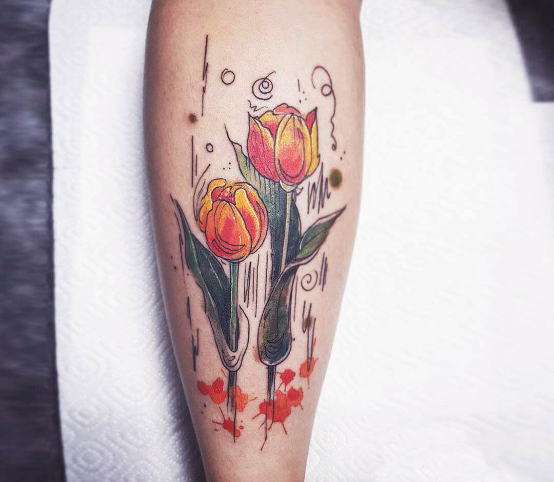 Orange Tulip Calf Tattoo