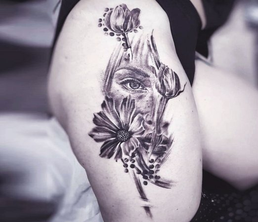 Abstract Floral Girl Thigh Tattoo