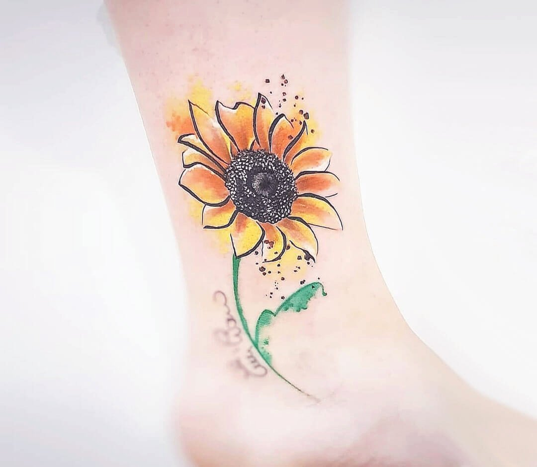 Side Ankle Sunflower Tattoo