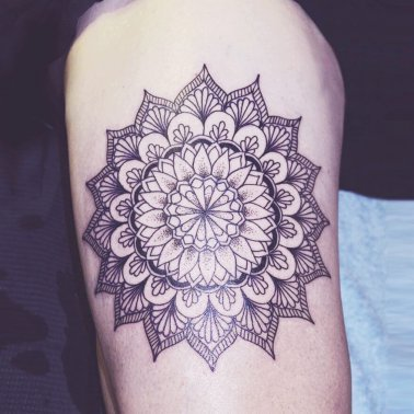Floral Mandala Thigh Tattoo