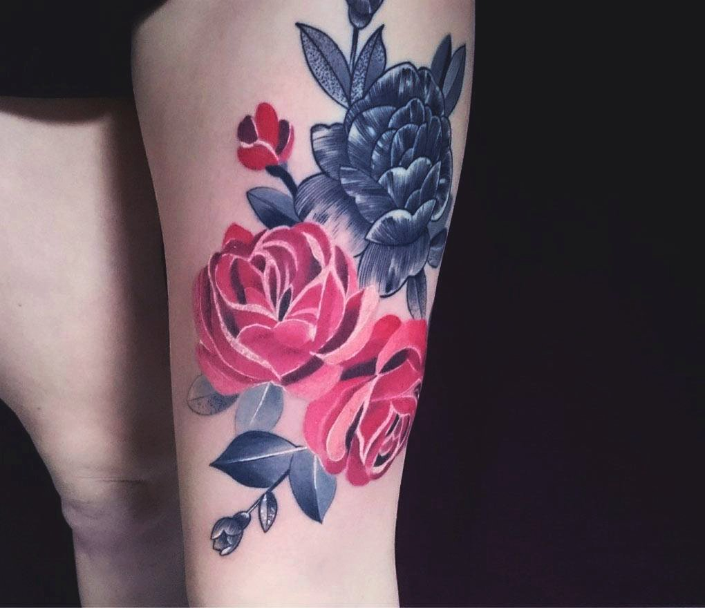 cluster of rose tattoo - Side Thigh Rose Tattoo