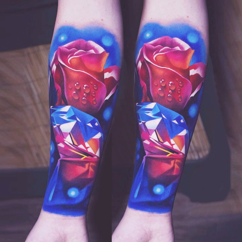 Floral Red Blue Tattoo
