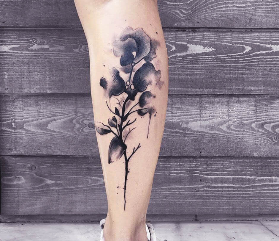 Floral Black Watercolour Tattoo