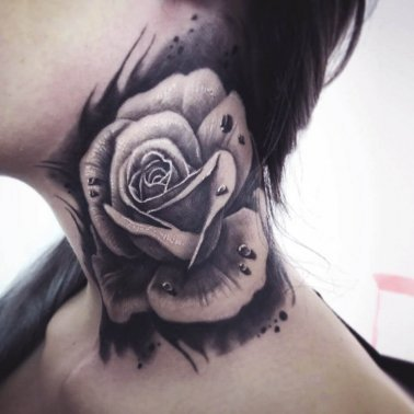 Rose Side Neck Tattoo