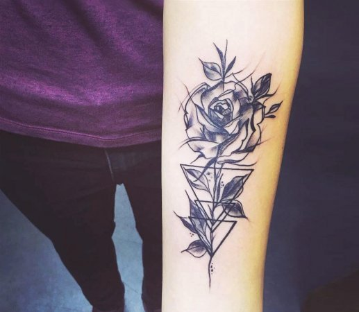 Abstract Forearm Rose Tattoo