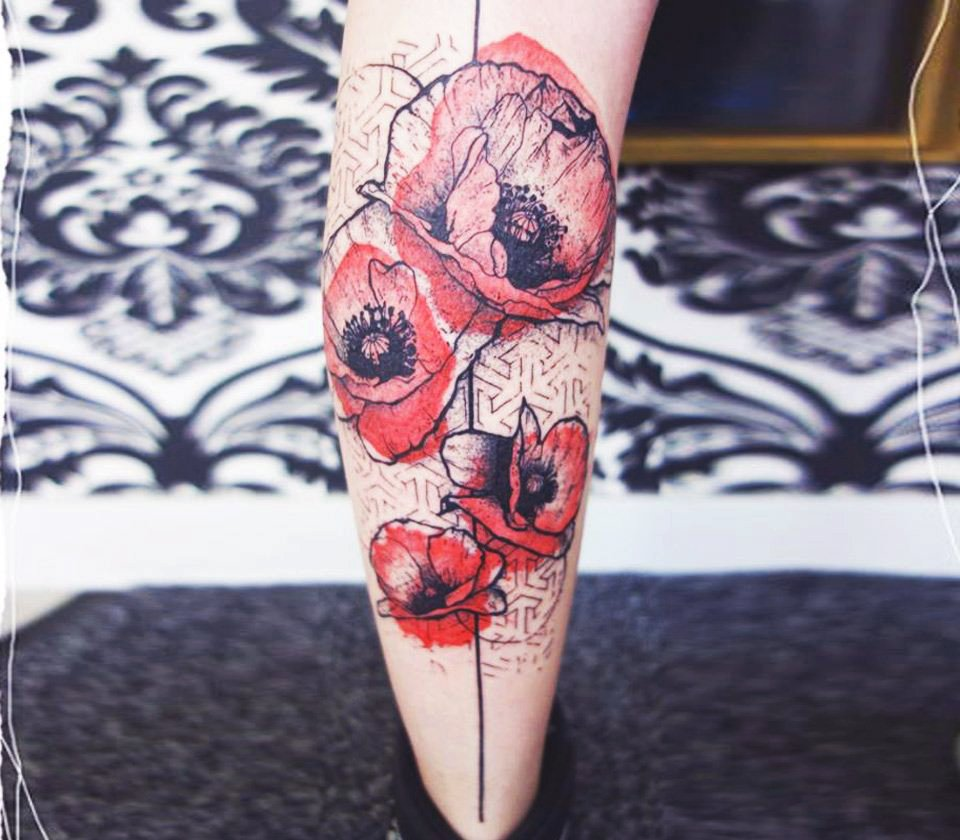 Floral Calf Tattoo