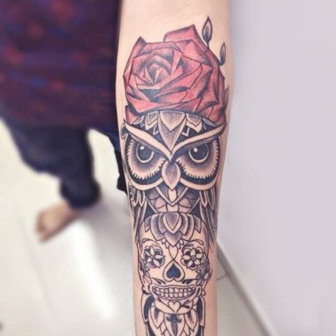 Floral Owl Tattoo