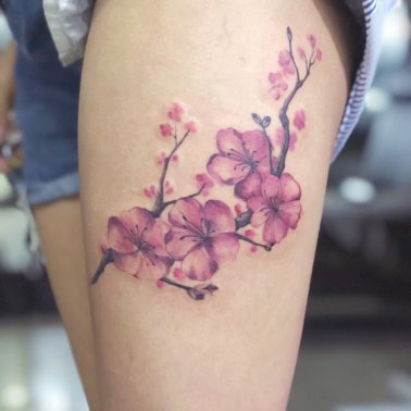 Cherry Blossom Side Thigh Tattoo