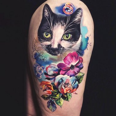 Floral Thigh Cat Tattoo
