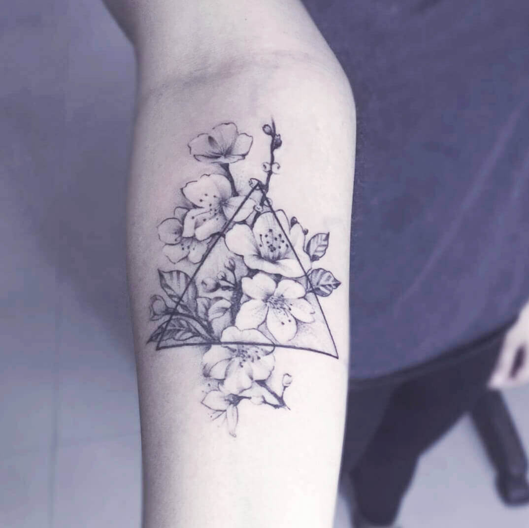 Floral Triangle Tattoo