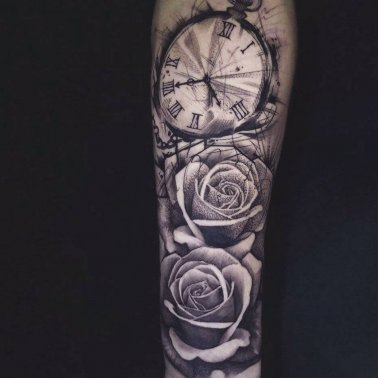 Clock Rose Tattoo