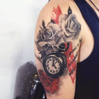 Trash Polka Clock Rose Tattoo