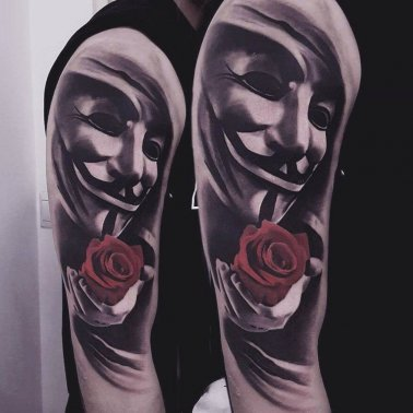 Mask Rose Shoulder Tattoo