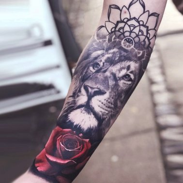 Floral Lion Forearm Tattoo