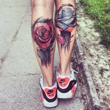 Abstract Floral Calf Tattoo
