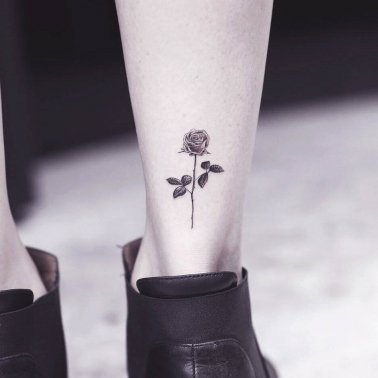 Minimlistic Rose Ankle Tattoo
