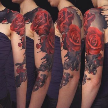 Abstract Red Rose Shoulder Tattoo