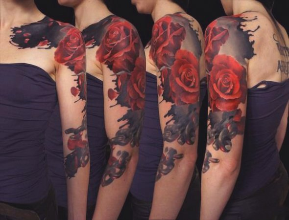Abstract Floral Sleeve Tattoo