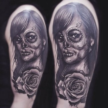 Surrealistic Floral Girl Tattoo