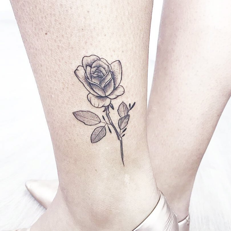 Side Ankle Rose Tattoo