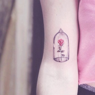 Minimalistic Rose Jar Tattoo