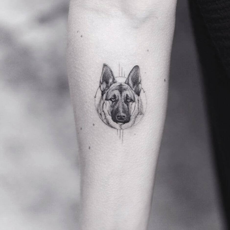 Minimalistic German Shepherd Tattoo