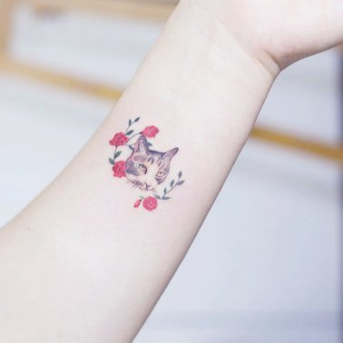 Minimalistic Rose Vine Cat Tattoo