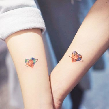 Minimalistic Heart Couple Tattoo