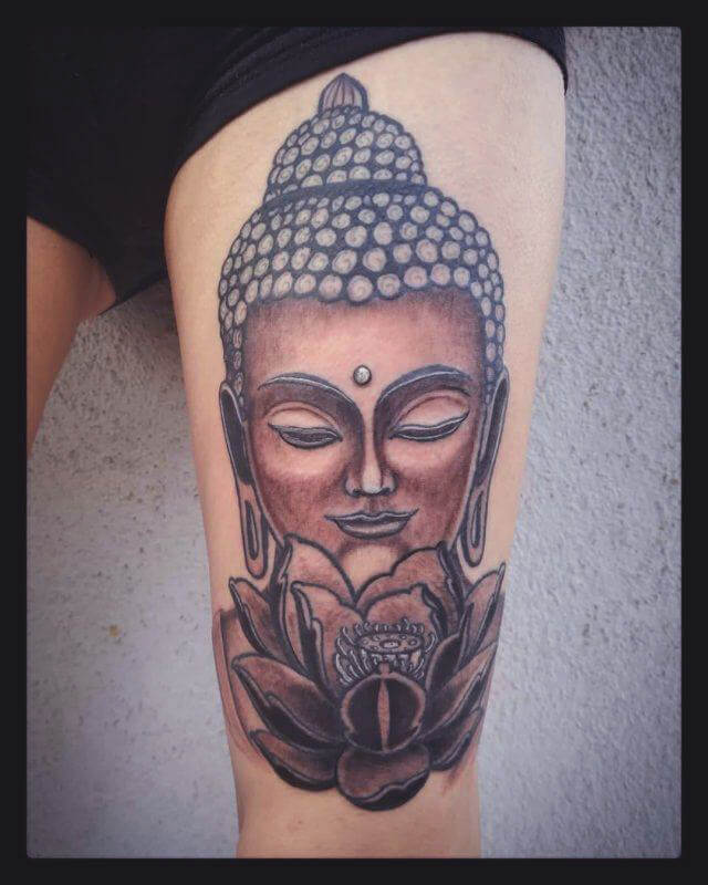 Floral Buddha Thigh Tattoo