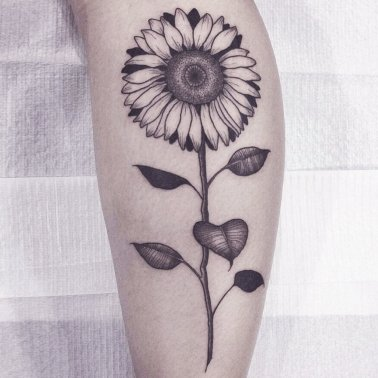 Sunflower Calf Tattoo