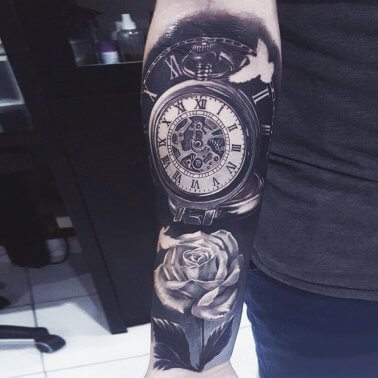 Floral Clock Dove Tattoo
