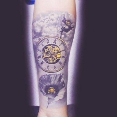 Colour Clock Sleeve Tattoo