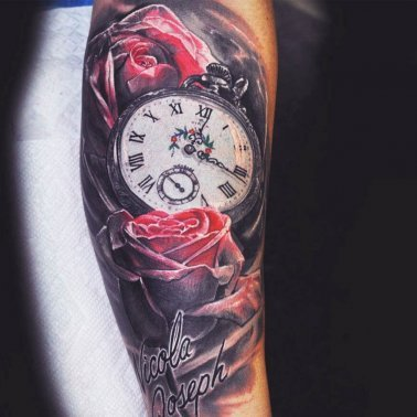 Floral Script Clock Tattoo