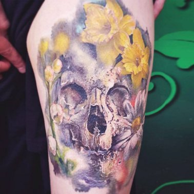 Yellow flower skull tattoo