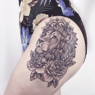 Floral Lion Thigh Tattoo