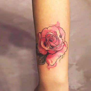 Pink Rose Arm Tattoo