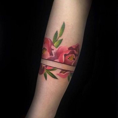 Negative Space Rose Band Tattoo