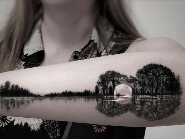 Surrealistic Sidearm Forest Guitar Tattoo