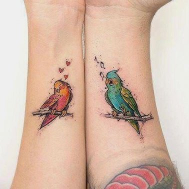 Forearm Love Bird Tattoo