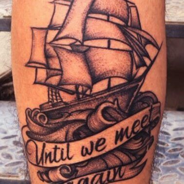 Script Ship Calf Tattoo