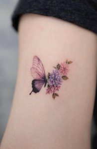 Floral Butterfly Arm Tattoo